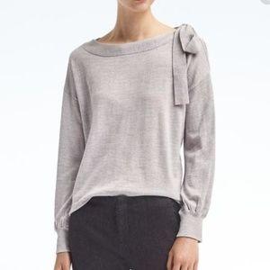 Banana Republic Bow Shoulder Wool Sweater Gray XL